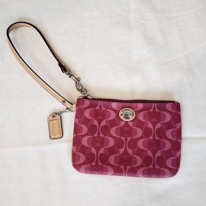 Coach Pink Monogram Mini Wristlet Wallet